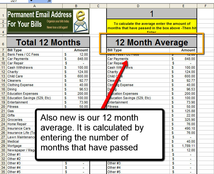 The worksheet now has the ability to calculate the exact average by entering the number of months that have passed