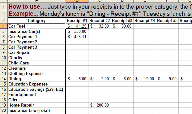 How to keep track of money family budget sheet entry